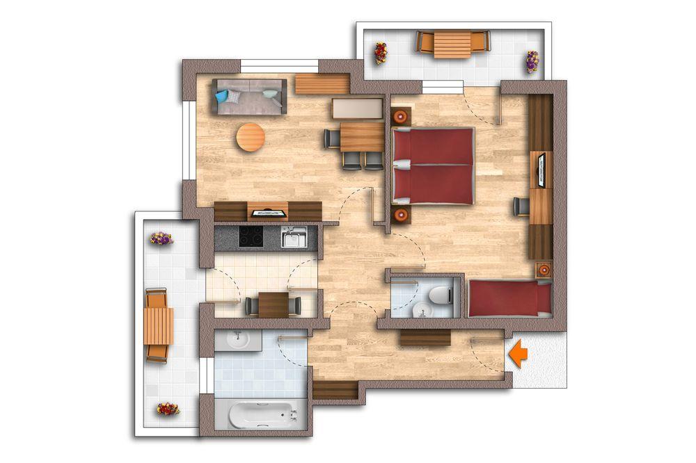 Grundriss Appartement 60 m²
