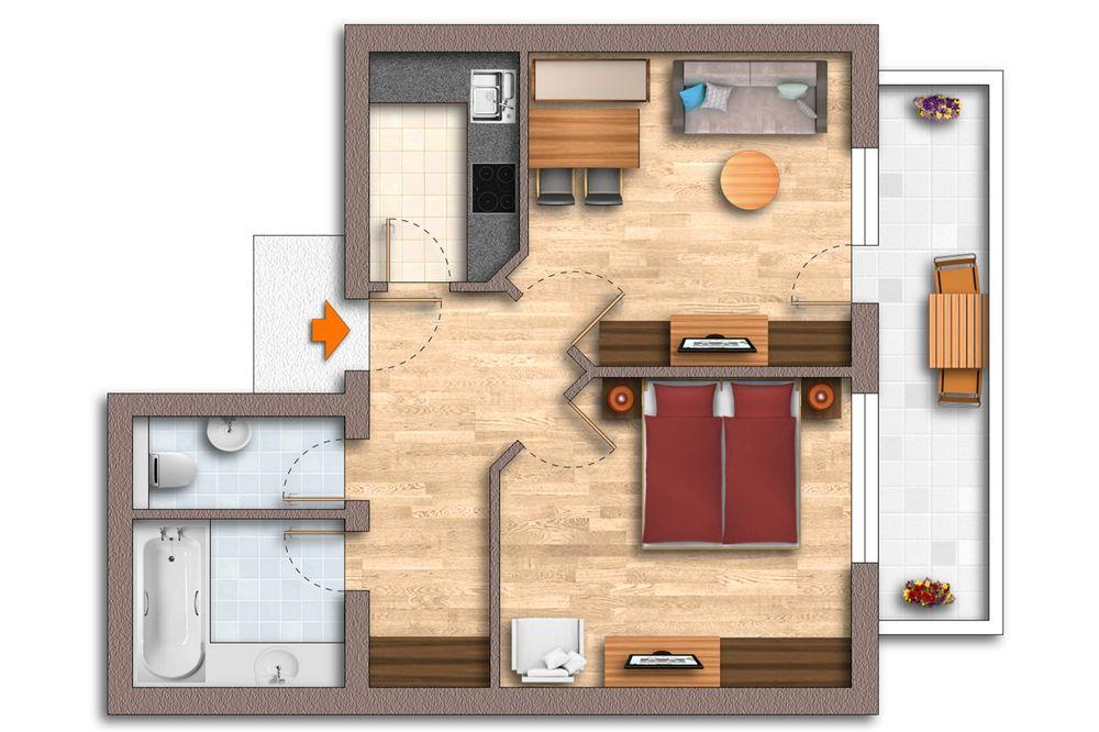 Grundriss Appartement 50 m²