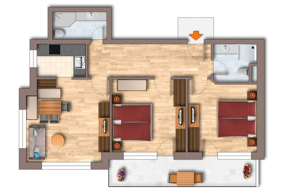 Grundriss Appartement 65 m²