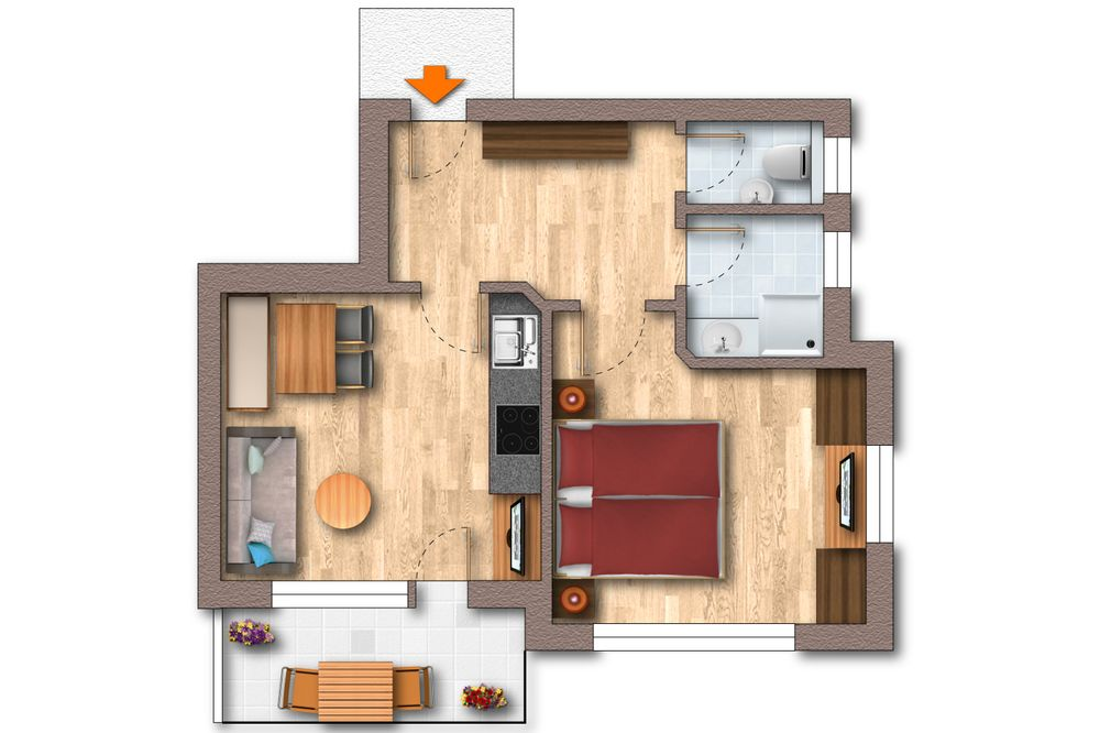 Grundriss Appartement 40 m²